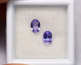 1.07cts Natural Violet Blue Tanzanite Pair / 1411