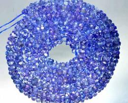 52.68 Cts Natural AAA Purple Blue Tanzanite Beads - 47 cm - 3.1x3.5 mm
