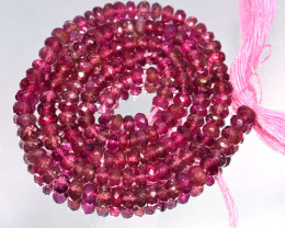 29.22 Cts Natural Sweet Pink Tourmaline Beads - 37 cm - 3.0 mm