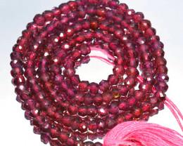 38.80 Cts Natural Purple Pink Rhodolite Garnet Beads - 34 cm - 3.5 mm