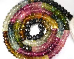 35.56Cts Marvelous Natural Multi Color Tourmaline Rondelle Beads 37cm 3.5mm