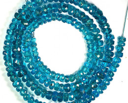 59.52 Cts Natural Apatite Beads Neon Blue  - 41 cm - 4.4-3.5 mm
