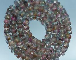 43.64 Cts Marvelous Natural Bi-Colour Tourmaline Rondelle Beads 41.5cm 3.5m