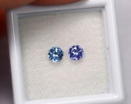 0.7cts Natural Violet Blue Tanzanite Pair / 1421