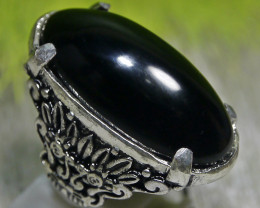 102.40 CT Indonesian Black Agate Ring Jewelry