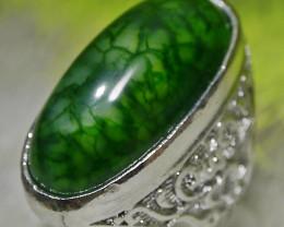 121.80 CT Beautiful GREEN GOBLIN Dragon Skin Agate Jewelry Ring