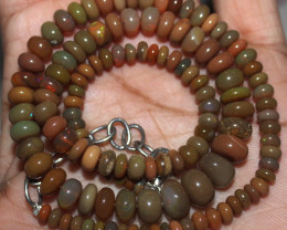69 Crt Natural Ethiopian Welo Fire Opal Beads Necklace 21