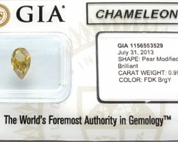 GIA certified Natural CHAMELEON colour changing  Fancy Dark Yellow Diamond