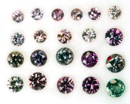 3.92 Cts Natural Color Change Sapphire 21 Pcs Round Cut Madagascar