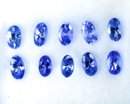 2.96 Cts Natural Purple Tanzanite 5x3 mm Oval Cut 10 Pcs Tanzania