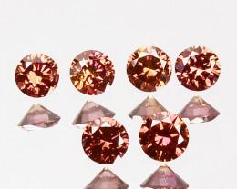 ~PAIR~ 0.16 Cts Natural Brownish Orange Diamond Round Africa