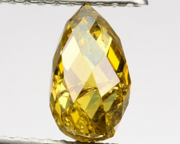 ~WOW~ 1.27 Cts Natural Diamond Golden Yellow Fancy Briolette Cut Africa