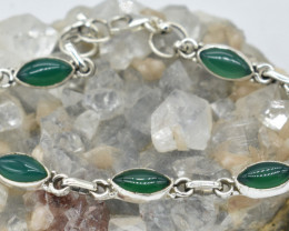 GREEN ONYX NATURAL UNTREATED  BRACELET 925 STERLING SILVER JE1587