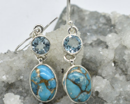 EARRINGS 925 STERLING SILVER TURQUOISE  NATURAL GEMSTONE JE1594