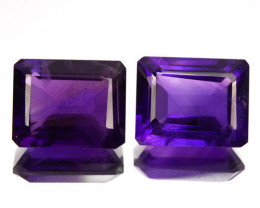 Natural Purple Amethyst Octagon Bolivia PAIR 4.32 Cts