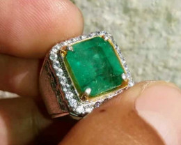 CERT AMAZING EMERALD ZAMBIA BLUEISH GREEN COLOR*