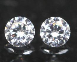 2.40mm 2Pcs D E F Color VS Natural Round Brilliant Cut  White Diamond