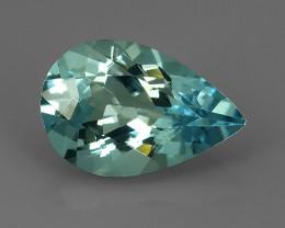 1.70 Cts - Sparkling Luster - Pear Gem - Natural Fine Blue Aquamarine !!
