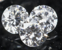1.60mm D/F/VS 3Pcs Natural Loose White Diamond