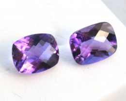 5.30 Carat Very Fine Matched Pair of Cushion Checkerboard Cut Amethyst