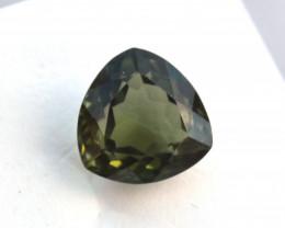 3.45 Carat Trillion Cut Olive Green Tourmaline