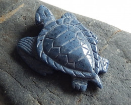 Hand Carved Pendant ,Blue Coral Sea Turtle ,Natural Gemstone ,Turtle Pendan