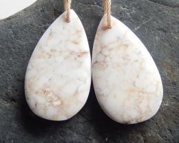 Sale Howlite Earrings ,Handmade Gemstone ,Teardrop Earrings,Lucky Stone B77