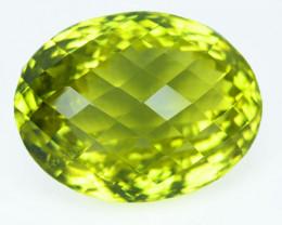 40.97 Cts Natural Gold Green Prasiolite Lemon Quartz  Oval Checkerboard