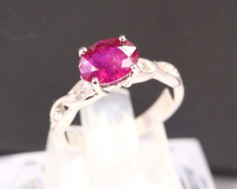UNHEATED Ruby 2.05Ct Natural Ruby 925 Sterling Silver Ring B1909