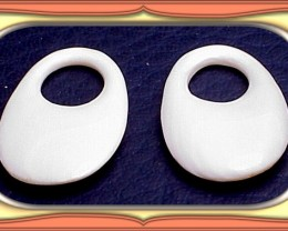 8.02ct Pair Estate Carved Solid Ivory Earring Findings