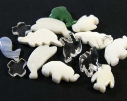 HAND CARVED STONE ANIMALS 14 PIECES 70.25 CTS SGS910