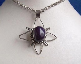 Beautiful Hand Crafted Peruvian Agate Pendant with Chain