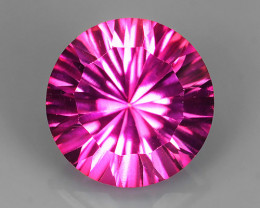 4.20 CTS SUPERIOR! TOP COLOR ROUND LASER CUT HOT PINK-TOPAZ GENUINE NR!!