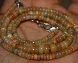 26 Crt Natural Ethiopian Welo Fire Opal Beads Necklace 42