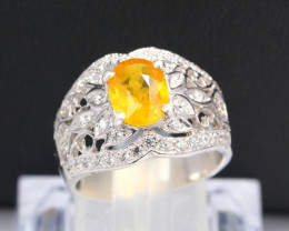 Yellow Sapphire 5.16g Natural Sapphire 925 Sterling Silver Ring E1405