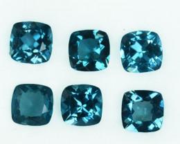 6.07 Cts Natural London Blue Topaz Cushion 6 Pcs Brazil Parcel