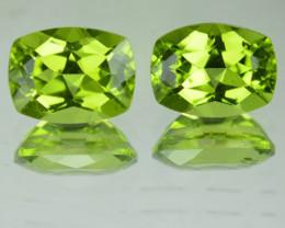 2.73 Cts Untreated yellowish Green Peridot Cushion Pair