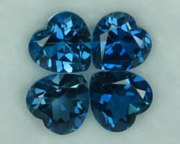 6.10 Cts Natural London Blue Topaz Heart Parcel