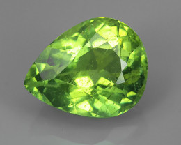 3.80 CTS GENUINE TOP GREEN COLOR APATITE PEAR GEM MADAGASCAR!