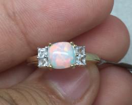 (B1) Cert. Wonderful $1000 Nat 0.65cts Genuine Opal & Wht Sapphire Ring