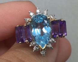 (B12) $2100 Nat. 8.75ct Blue Topaz Amethyst & Diamond Ring 14K YG
