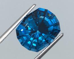 8.11 Carat VVS Topaz Caribbean Blue Custom Master Cut Brilliant Flash !