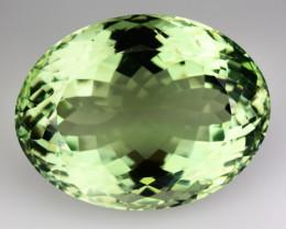 ~ULTIMATE~ 31.71 Cts Natural Prasiolite Green Amethyst Oval Cut Brazil