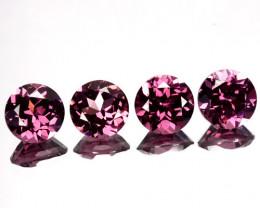 ~SET~ 4.10 Cts Purple Pink Natural Rhodolite Garnet Round Cut Mozambique