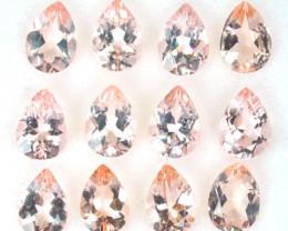 6.17 Cts Natural Morganite Peach Pink 7x5 mm Pear 12 Pcs Brazil