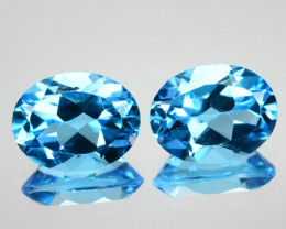~PAIR~ 4.52 Cts Natural Baby Blue Topaz 9x7 mm Oval Cut Brazil
