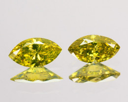 0.21 Cts Natural Diamond Golden Yellow 2 Pcs Marquise Cut Africa