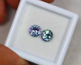 1.76ct Violet Blue Tanzanite Round Cut Pair Lot GW3405