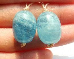 Aquamarine Oval Earrings, Natural Aquamarine Earrings, Raw Blue Stone Earri