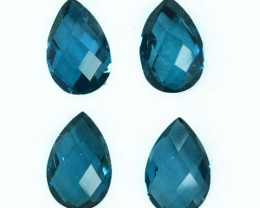6.16 Cts Natural London Blue Topaz Pear Checkerboard Brazil Parcel
